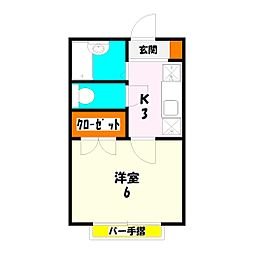 クレアール西新井[201号室]の間取り