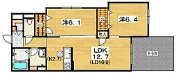 ロイヤルメゾン交野 1階2LDKの間取り