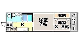 京都府京都市左京区田中古川町の賃貸マンションの間取り