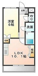 福岡県北九州市若松区畠田1丁目の賃貸アパートの間取り