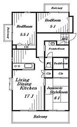 ニューエイト本郷第6[3階]の間取り