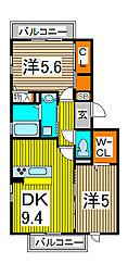 埼玉県さいたま市浦和区木崎1丁目の賃貸アパートの間取り