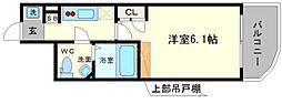 セレニテ高井田 10階1Kの間取り
