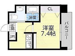 Osaka Metro今里筋線 蒲生四丁目駅 徒歩4分の賃貸マンション 5階1Kの間取り