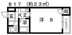 エマーユサンスイ藤井寺[107号室号室]の間取り