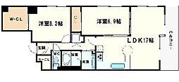ネット堺筋クレア[12階]の間取り