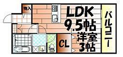 グレイストレビナ赤坂[1階]の間取り