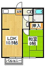 コーポミユキ[203号室]の間取り