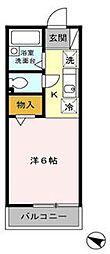東京都国立市北2丁目の賃貸アパートの間取り
