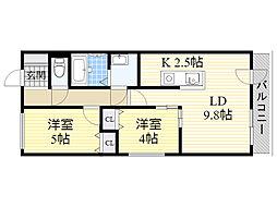 札幌市電2系統 石山通駅 徒歩4分の賃貸マンション 2階2LDKの間取り