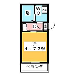 (仮称)鶴見区岸谷2丁目アパートNo.3新築工事 2階1Kの間取り