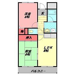 エスポアールキンダ 2階2DKの間取り