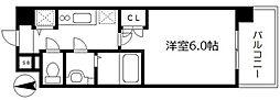 エスキュート梅田東 6階1Kの間取り