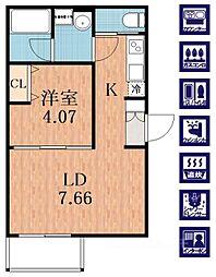 プレジール林寺[1階]の間取り