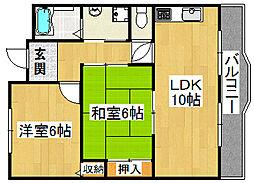コスモピア野崎[2階]の間取り