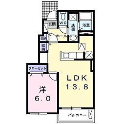 リーリエ2 1階1LDKの間取り