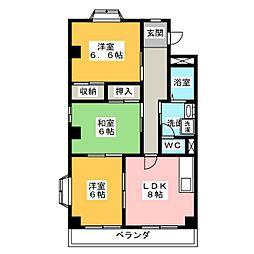 カサ東田面[1階]の間取り