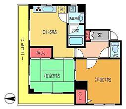 シャトー乙川[3階]の間取り