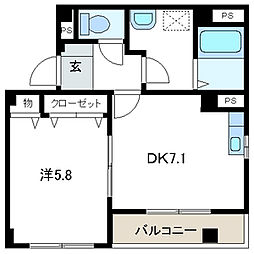 埼玉県吉川市木売2丁目の賃貸マンションの間取り