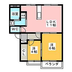 エントピア吉田D[2階]の間取り