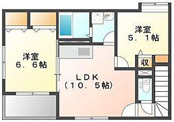 宇土新築アパート[2階]の間取り