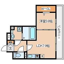 兵庫県神戸市兵庫区中道通9の賃貸アパートの間取り