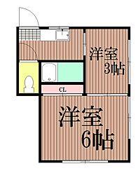 東京都大田区北馬込2丁目の賃貸アパートの間取り