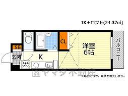 阪急箕面線 箕面駅 徒歩8分の賃貸マンション 3階1Kの間取り