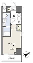 都営新宿線 本八幡駅 徒歩1分の賃貸マンション 2階1Kの間取り