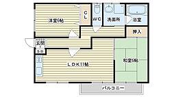 大阪府高槻市西面中1丁目の賃貸アパートの間取り