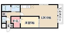 愛知県名古屋市緑区鳴海町字下汐田の賃貸アパートの間取り
