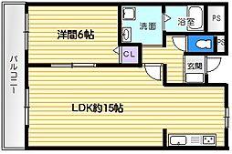 コスモピア野崎[1LDK号室]の間取り