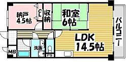 大阪府堺市西区上野芝向ヶ丘町6丁の賃貸マンションの間取り