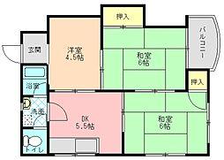 奈良県生駒郡斑鳩町龍田南3丁目の賃貸マンションの間取り