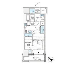 JR山手線 渋谷駅 徒歩8分の賃貸マンション 12階1DKの間取り