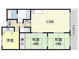 JR東海道・山陽本線 千里丘駅 徒歩16分の賃貸マンション 3階3LDKの間取り