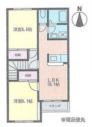 神奈川県茅ヶ崎市浜之郷の賃貸アパートの間取り