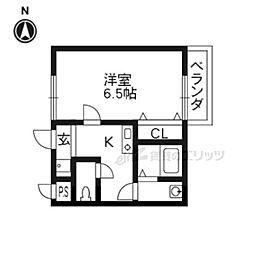 阪急京都本線 桂駅 徒歩6分の賃貸アパート 1階1Kの間取り
