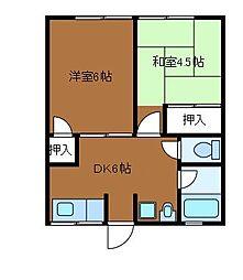 第2富貴荘[2階]の間取り
