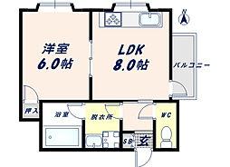 ツカサロイヤルハイツ瓢箪山[306号室]の間取り