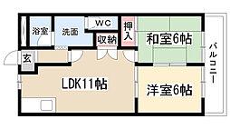 愛知県名古屋市緑区大清水西の賃貸アパートの間取り