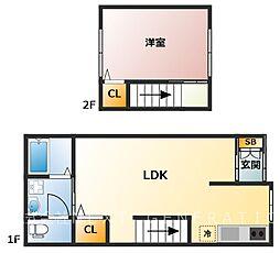 濱田邸 借家 1LDKの間取り