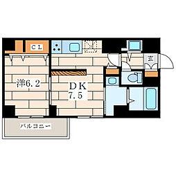 アムール香川 2階1DKの間取り