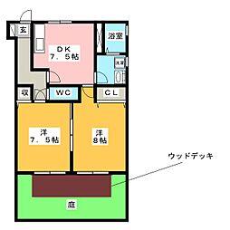 エストヒラミツA[1階]の間取り