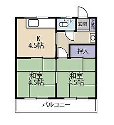 石岡荘[203 号室号室]の間取り