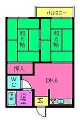 奈良県天理市荒蒔町の賃貸アパートの間取り