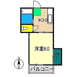 プレステージ仲田[3階]の間取り
