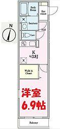 JR京浜東北・根岸線 根岸駅 徒歩7分の賃貸アパート 1階1Kの間取り