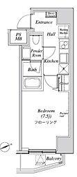 ニューガイア リルーム芝28 8階1Kの間取り