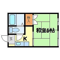 滋賀県大津市中央2丁目の賃貸アパートの間取り